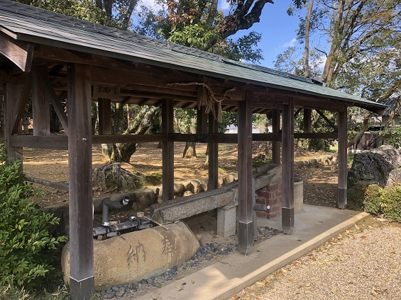 流しそうめんができそうな珍しい手水舎 天森神社