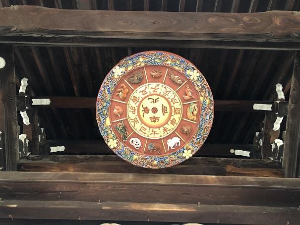 大阪天満宮表大門の天井にある一風変わった「方位盤」